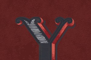 letter Y vintage typography style
