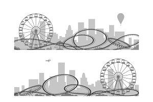 Amusement park silhouettes