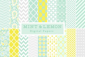 Mint & Lemon Backgrounds