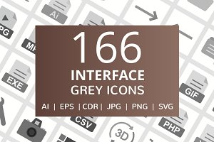 166 Interface Greyscale Icons