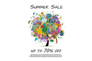 Summer sale banner, floral tree for