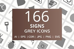 166 Sign Greyscale Icons