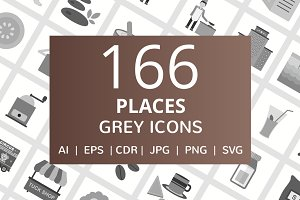 166 Places Greyscale Icons