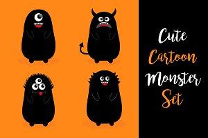 Monster black silhouette set.