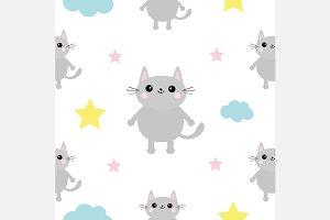 Baby seamless pattern with cat.