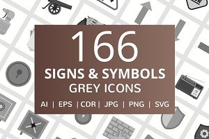 166 Signs & Symbols Greyscale Icons