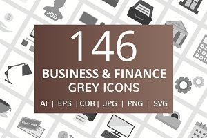 146 Business & Finance Grey Icons