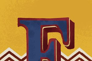 letter F vintage typography style