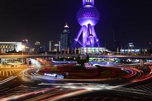 Shanghai TV Tower Street at Night