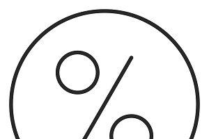 Percent sign stroke icon, logo