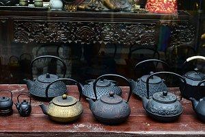 Tea pots display in a tea shop China