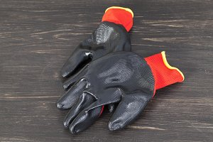 black and red protective gloves