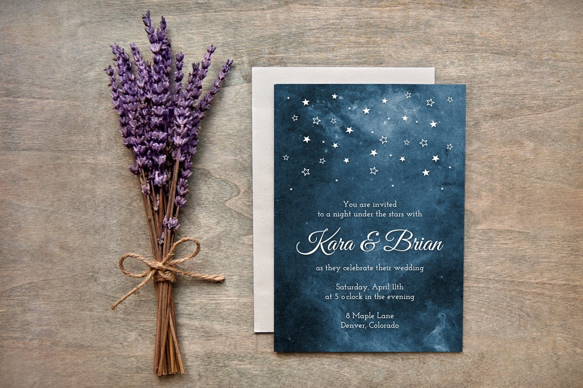 Painted Starry Night Wedding Invites ~ Invitation Templates ...
