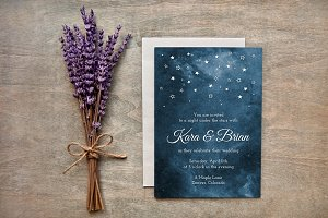 Painted Starry Night Wedding Invites