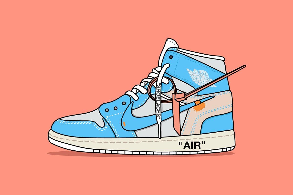 389bae5b5ea Nike x Off white Jordan Powder Blue ~ Illustrations ~ Creative Market