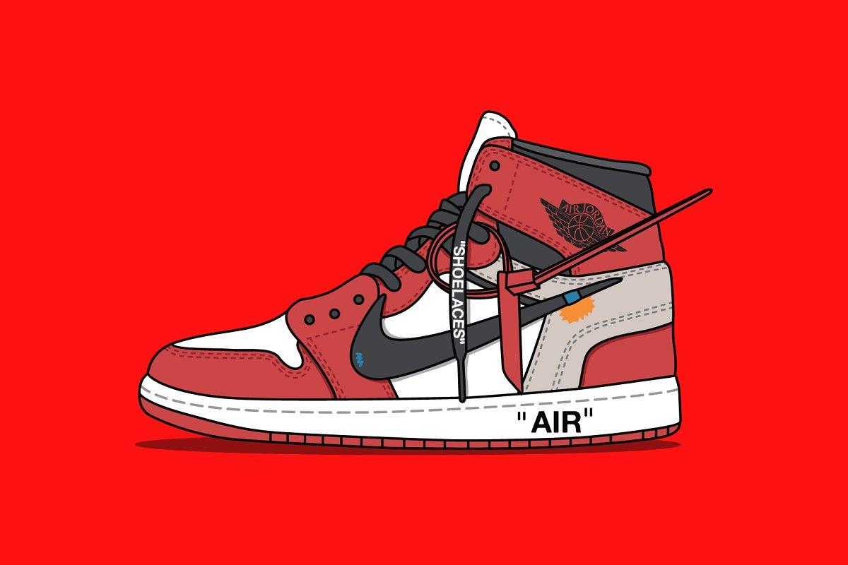242f7779f69 Nike x Off white Jordan Red ~ Illustrations ~ Creative Market