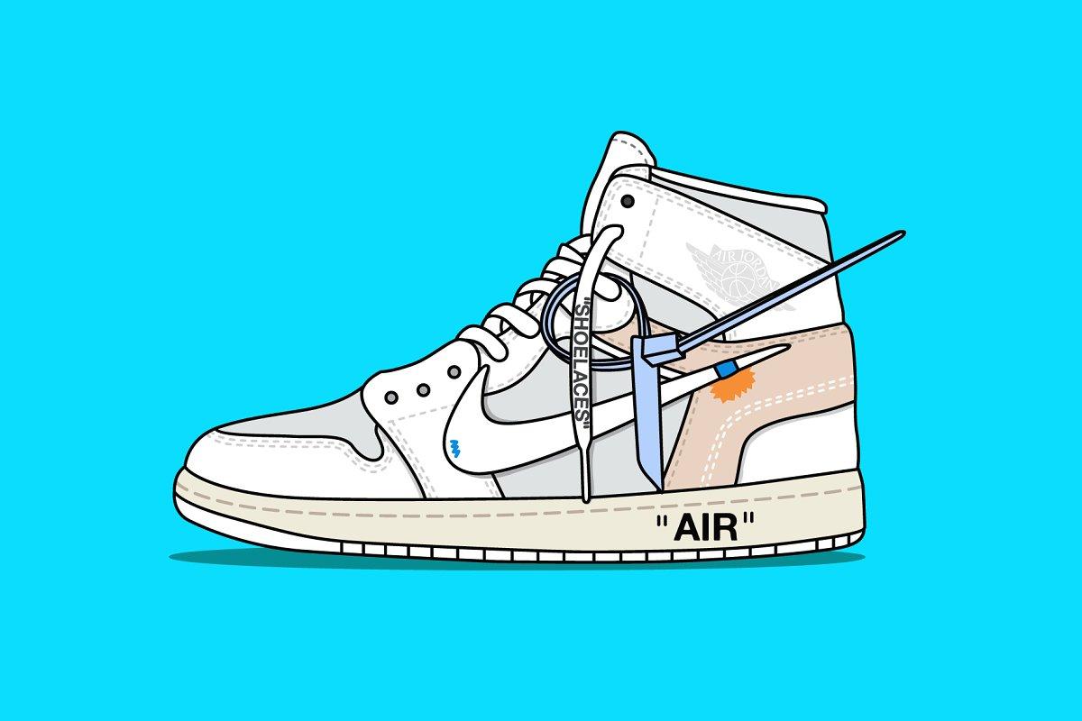 884fdad8a81 Nike x Off white Jordan White ~ Illustrations ~ Creative Market