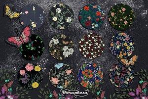 14JPG/EPS Tropical floral pattern