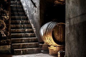 Old Wine barrel in wine cellar