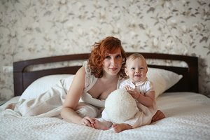 redhead mother and daughter Toddler