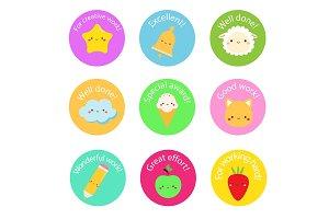 Cute award stickers for school kids