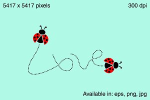 Love word - ladybugs