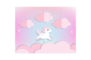 fairy unicorn flying in pink clouds