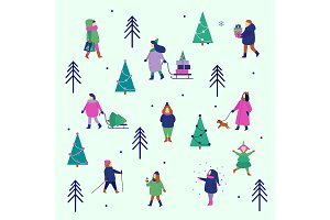 Winter people figures Christmas icon