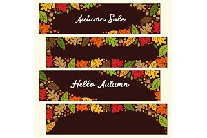Cute set of Autumn Leaves horizontal