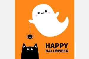 Happy Halloween. Ghost, spider, cat.