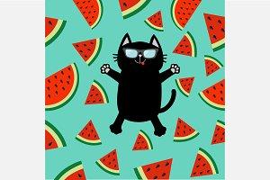 Black cat. Watermelon slice set.