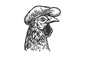 Chicken in flat cap engraving vector