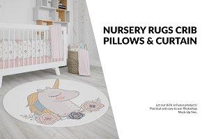 Nursery - 4 Rugs Pillows Curtain