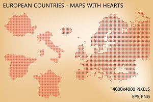 European countries, maps with hearts