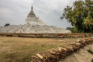 White pagoda of Hsinbyume in Myanmar