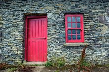 Vintage door and window on a cottage by  in Architecture