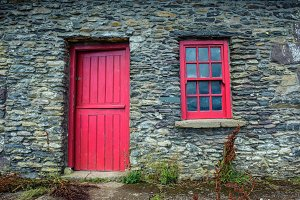 Vintage door and window on a cottage