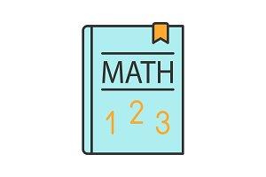 Math textbook color icon