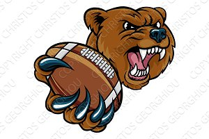 Bear American Holding Football Ball