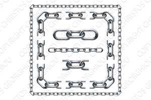 Chain Links Graphic Design Set