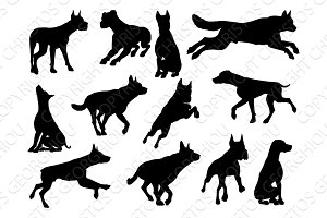 Dog Silhouettes Animal Set