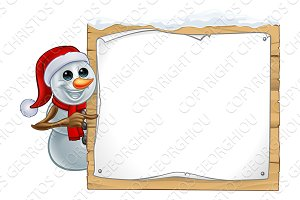 Christmas Snowman Cartoon Sign