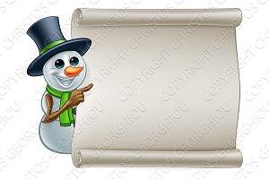 Snowman Christmas Sign Cartoon