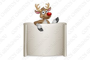 Reindeer Christmas Cartoon Sign