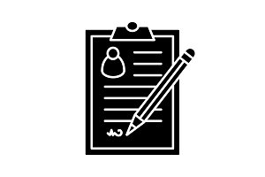 Signed document glyph icon