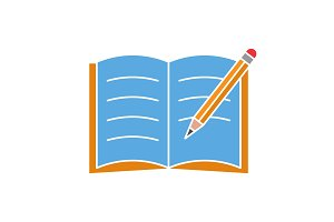 Copybook with pencil color icon
