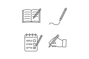 Writing with pencil linear icons set