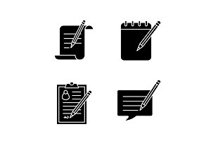 Writing with pencil glyph icons set