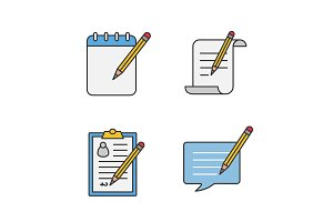 Writing with pencil color icons set