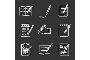 Writing with pencil chalk icons set